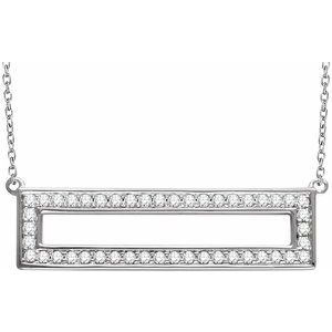 "14K White 3/8 CTW Diamond Rectangle 16-18"" Necklace"