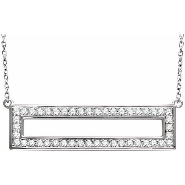 14K White 3/8 CTW Diamond Rectangle 16-18