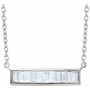 "14K White 1/4 CTW Diamond Baguette Bar 16-18"" Necklace"