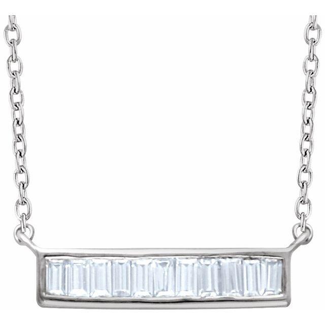 14K White 1/4 CTW Diamond Baguette Bar 16-18