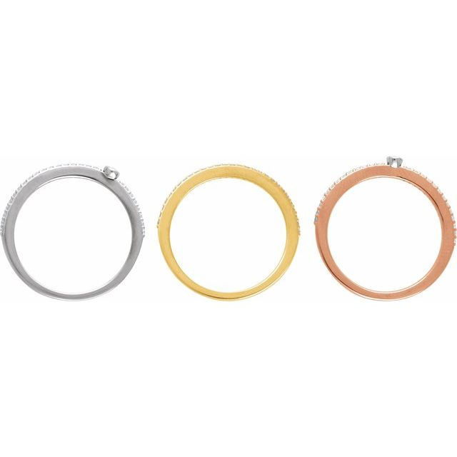 14K White/Yellow/Rose 3/8 CTW Diamond Stackable Rings - Set of 3