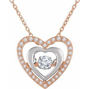 "14K Rose/White 1/4 CTW Diamond Heart Mystara® 18"" Necklace"