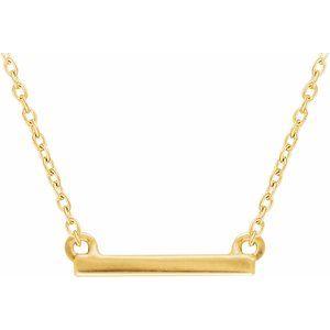 "14K Yellow 18x1.5 mm Petite Bar 16-18"" Necklace"