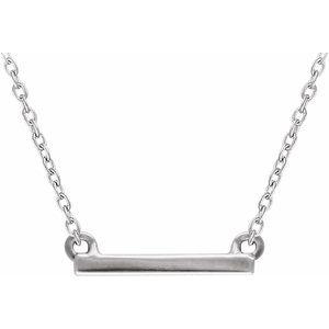 "14K White 18x1.5 mm Petite Bar 16-18"" Necklace"