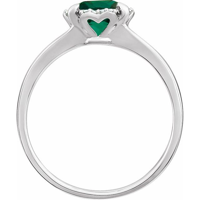 14K White Created Emerald & .05 CTW Diamond Ring