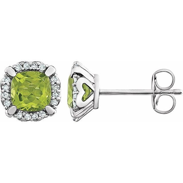 14K White Peridot & 1/10 CTW Diamond Earrings