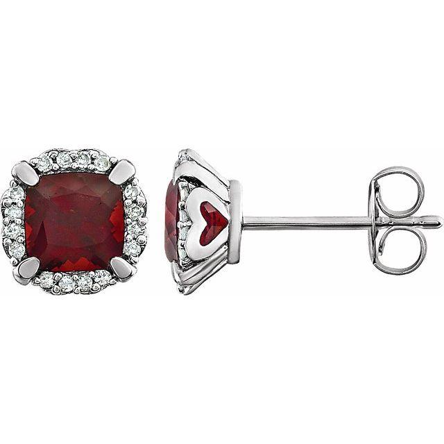 14K White Mozambique Garnet & 1/10 CTW Diamond Earrings