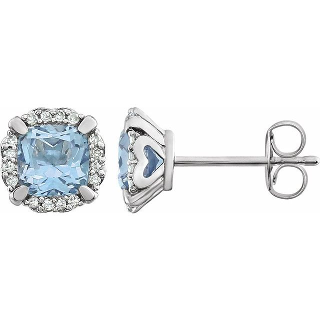 14K White Sky Blue Topaz & 1/10 CTW Diamond Earrings