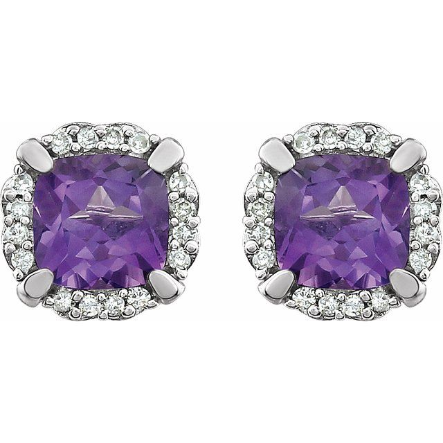 14K White Amethyst & 1/10 CTW Diamond Earrings