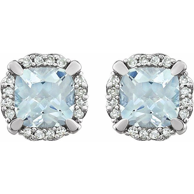 14K White Aquamarine & 1/10 CTW Diamond Earrings