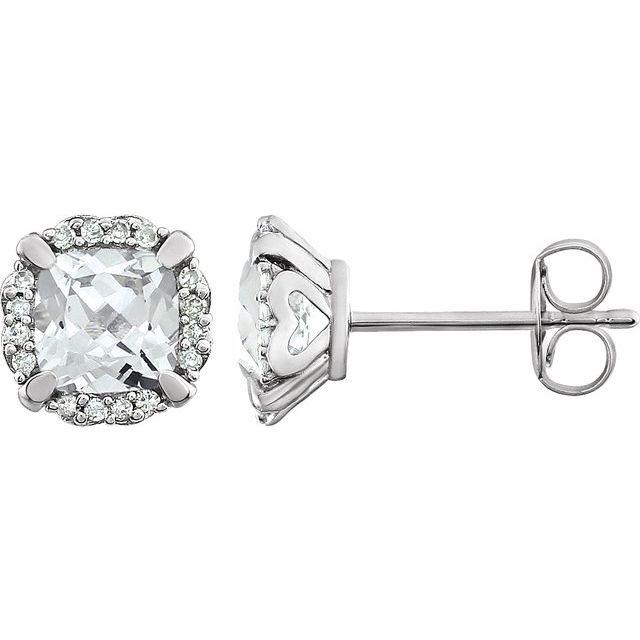 14K White Lab-Grown White Sapphire & 1/10 CTW Natural Diamond Earrings