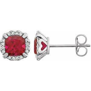 14K White Created Ruby & 1/10 CTW Diamond Earrings