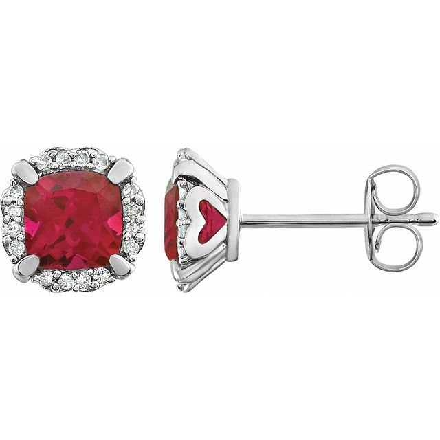 14K White Created Ruby & 1/10 CTW Diamond Earrings