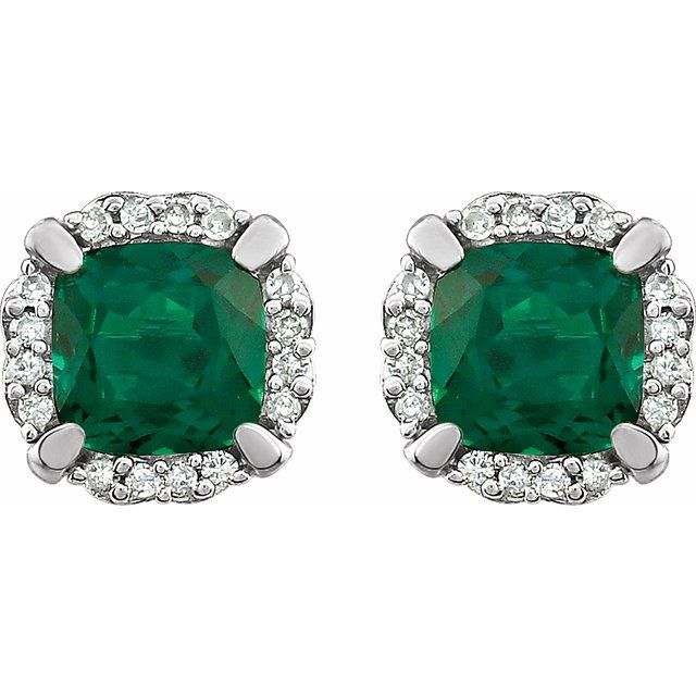 14K White Created Emerald & 1/10 CTW Diamond Earrings