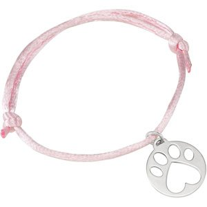 "Sterling Silver Our Cause for Paws™ Pink Satin Cord 6.5-8"" Bracelet"
