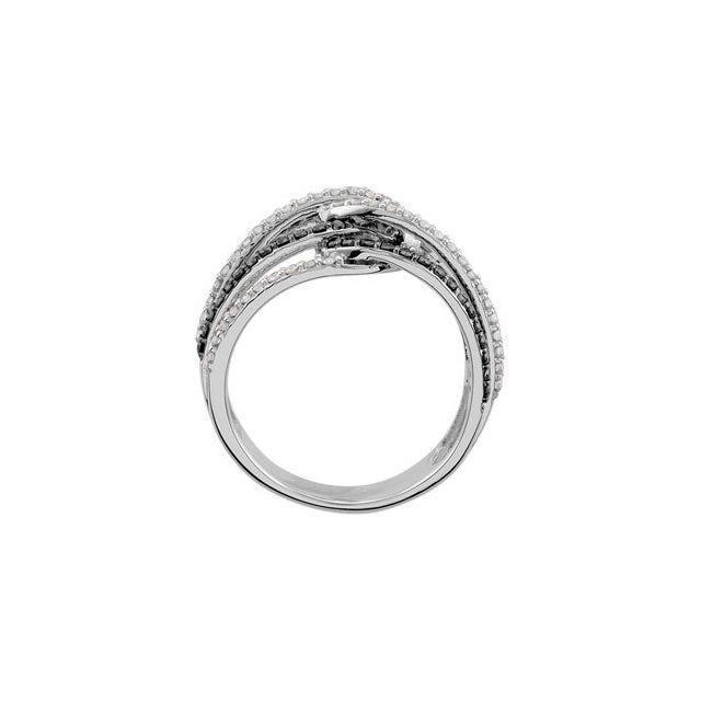 14K White Black Rhodium Plated 3/4 CTW Black & White Diamond Ring Size 7