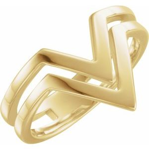 "14K Yellow Double Row ""V"" Ring"
