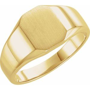 10K Yellow 9x7 mm Octagon Signet Ring