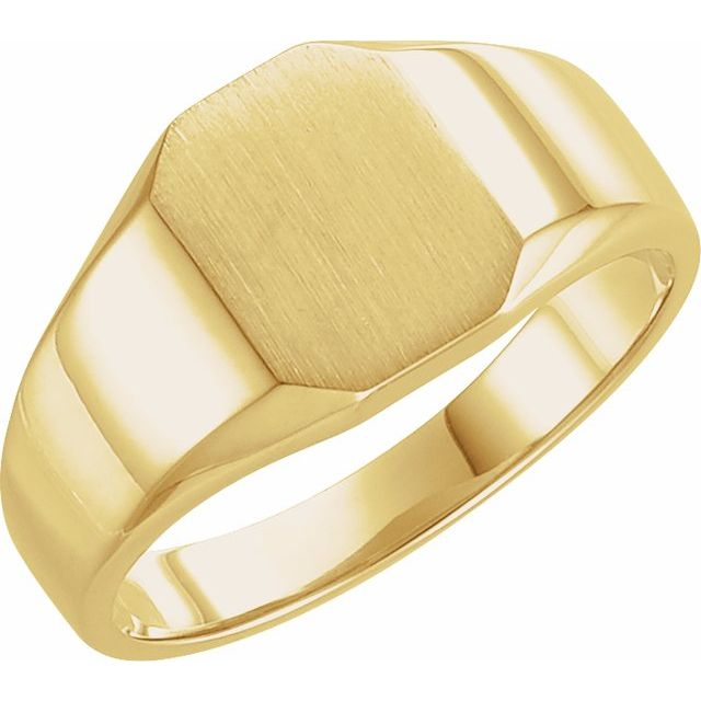 10K Yellow 9x7 mm Octagon Signet Ring