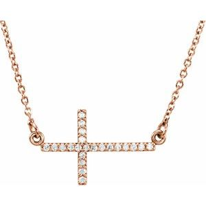 "14K Rose 1/10 CTW Diamond Sideways Cross 16-18"" Necklace"