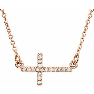"14K Rose .07 CTW Diamond Sideways Cross 16-18"" Necklace"
