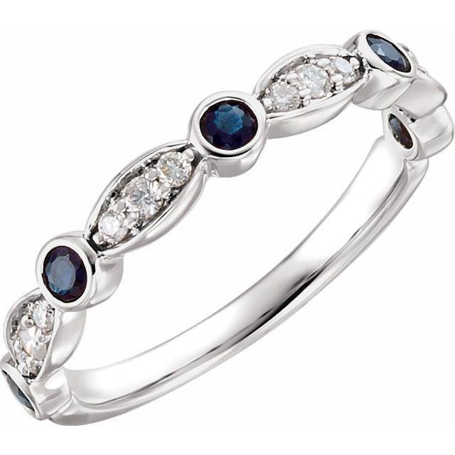 14K White Sapphire & 1/6 CTW Diamond Ring