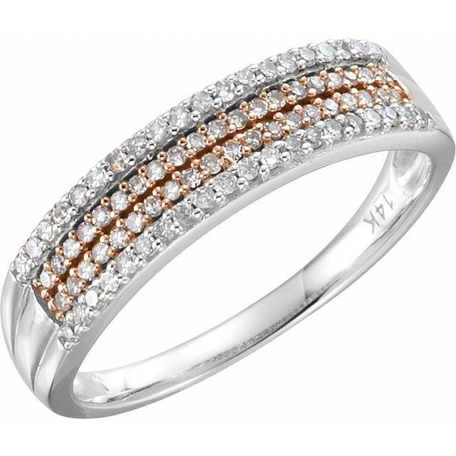 14K White & 14K Rose Gold Plated 1/4 CTW Natural Diamond Ring