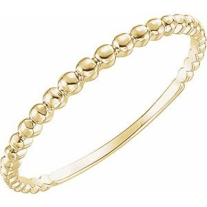 14K Yellow Beaded Stackable Ring Size 7