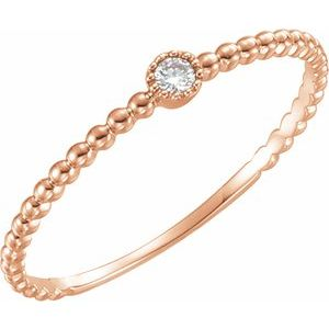 14K Rose .03 CTW Diamond Beaded Bezel-Set Ring Size 7