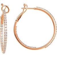 14K Rose 1 1/3 CTW Diamond Inside-Outside 30 mm Hoop Earrings
