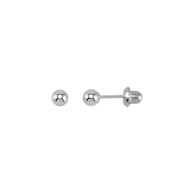 14K White Gold-Plated & 14K Yellow Ball Stud Piercing Earrings