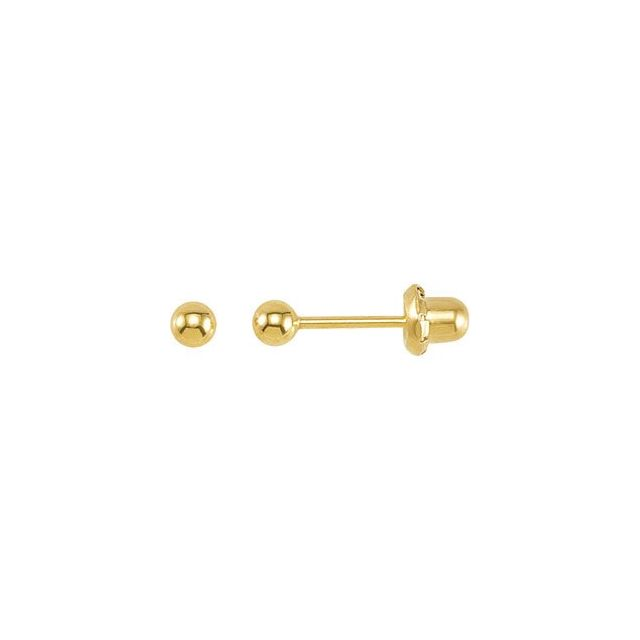 24K Gold Plated Sterling Silver Ball Stud Piercing Earrings