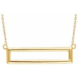 "14K Yellow Rectangle 16-18"" Necklace"