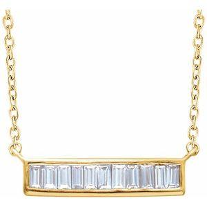 "14K Yellow 1/4 CTW Diamond Baguette Bar 16-18"" Necklace"
