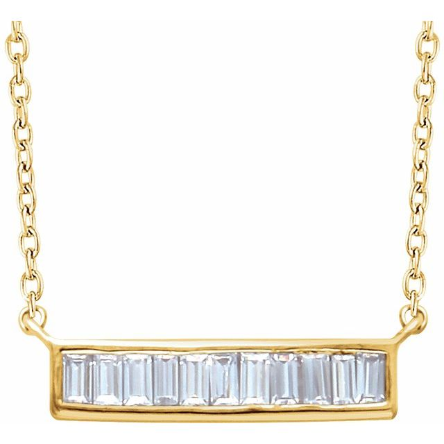 14K Yellow 1/4 CTW Natural Diamond Baguette Bar 16-18