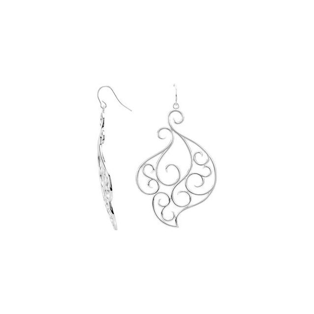 Sterling Silver 64x41.25 mm Right Fashion Earring