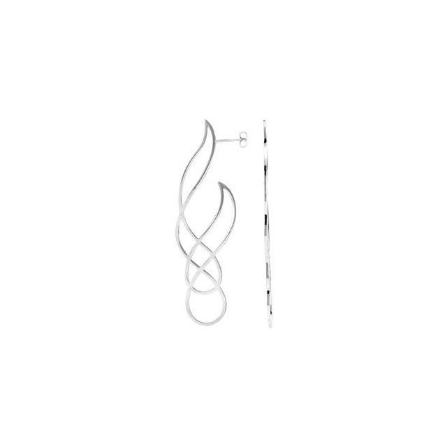 Sterling Silver 73x22 mm Freeform Earrings