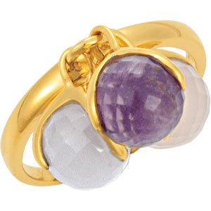 18K Yellow Vermeil Multi-Gemstone Ring Size 8
