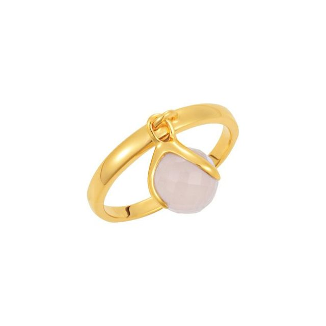 18K Yellow Vermeil Rose Chalcedony Ring Size 6
