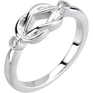 14K White .06 CTW Diamond Knot Ring