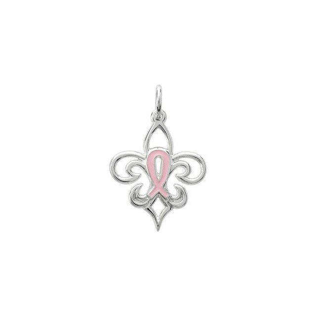 Sterling Silver 21.3X16.8 mm Pink Pourri Charm/Pendant