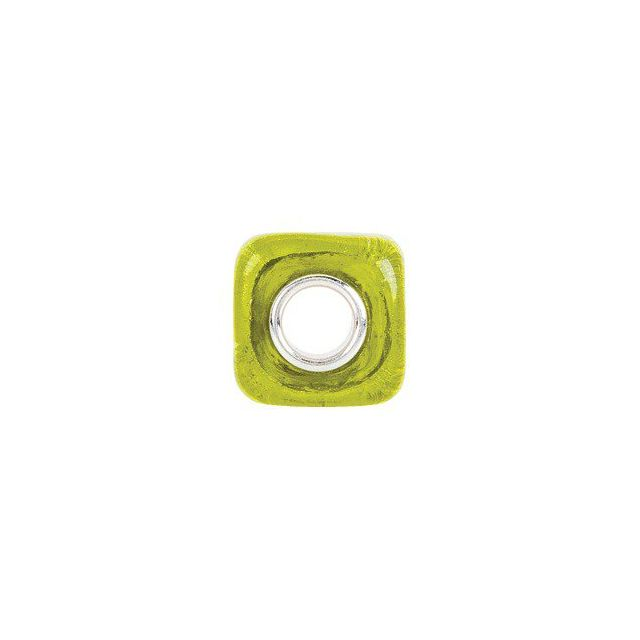 Sterling Silver 12x12 mm Yellow Square Glass Bead