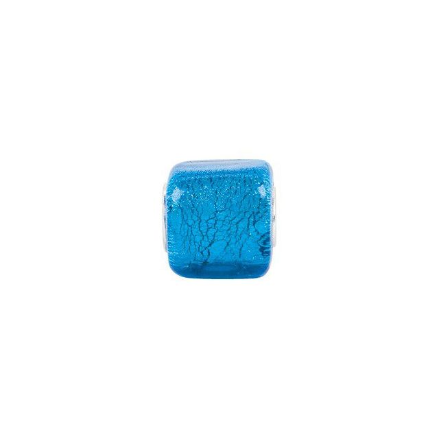 Sterling Silver 12x12 mm Turquoise Square Glass Bead