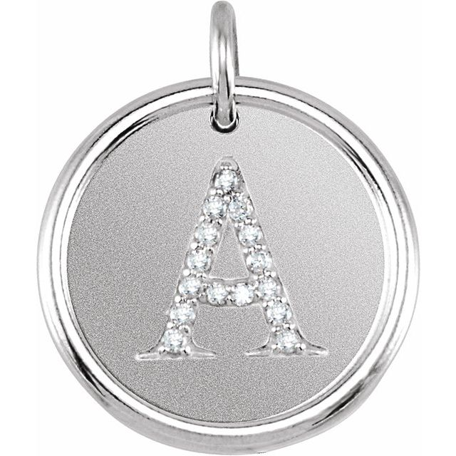 Sterling Silver .08 CTW Diamond Initial A Pendant