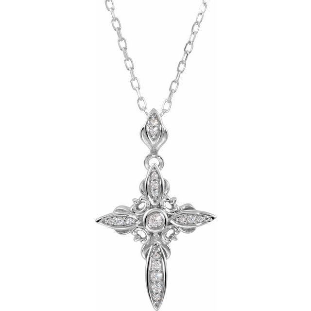 Sterling Silver Cubic Zirconia Cross 18
