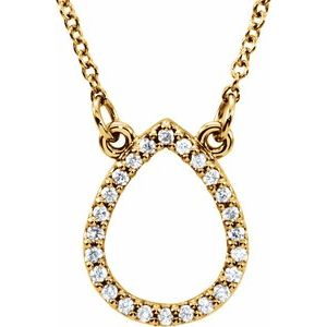 "14K Yellow 1/10 CTW Diamond Teardrop 16"" Necklace"
