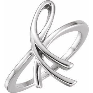 14K White 20.9 mm Freeform Ring