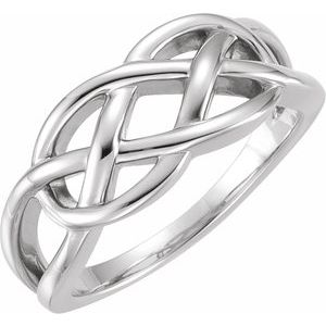 14K White 9 mm Criss-Cross Ring