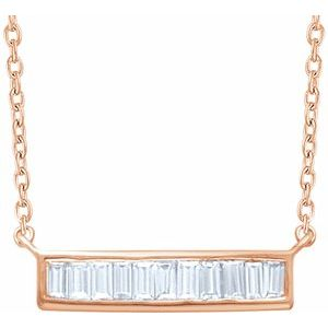 "14K Rose 1/4 CTW Diamond Baguette Bar 16-18"" Necklace"