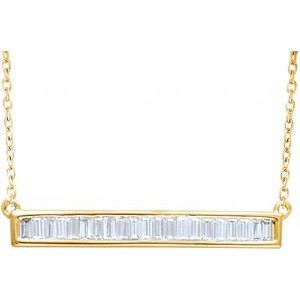 "14K Yellow 1/2 CTW Diamond Baguette Bar 16-18"" Necklace"